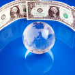 Globe Surround by Money — Stock Photo