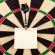 Dartboard and Yellow Sticky — Stock Photo
