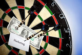 Money / Marketing on bullseye — Stock Photo