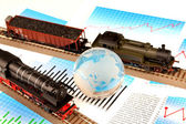 Locomotive Models and glass globe — Stock Photo
