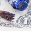 Brush, oilpaint and dollar - Stock Photo