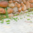 Fencing and paving slab - Stock Photo