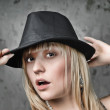 Blonde woman and hat — Stock Photo