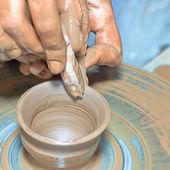 Potter's wheel work — Stock Photo
