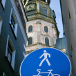 Stock Photo: Big blue road sign and Basilica