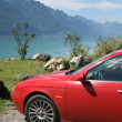 Stock Photo: Car in swiss mountains