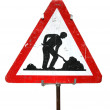 Road works sign — Stockfoto