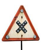 Road crossings retro sign — Stock Photo