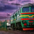 Diesel Train in the vannila sky — Stock Photo