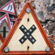 Stock Photo: Road crossings retro sign