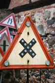 Road crossings retro sign — Stock Photo
