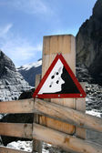 Information signs in Grindelwald Glacier — Stock Photo