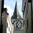 Stock Photo: Tower and big clock on wall in Zug