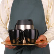 Barista With Coffee Tray — Stock Photo