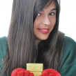 Girl with Gold Gift Box — Stock Photo