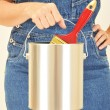 Woman Holding Paint Can and Brush — Stock Photo #2079879