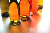 Five Wine Bottles Back Lit — Stock Photo