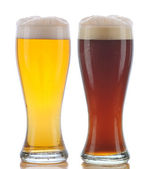 Glass of Pilsner and Dark Ale — Stock Photo