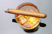Cigar on Whiskey — Stock Photo