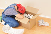 Woman and Packing Box — 图库照片