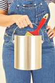 Woman Holding Paint Can and Brush — Stock Photo
