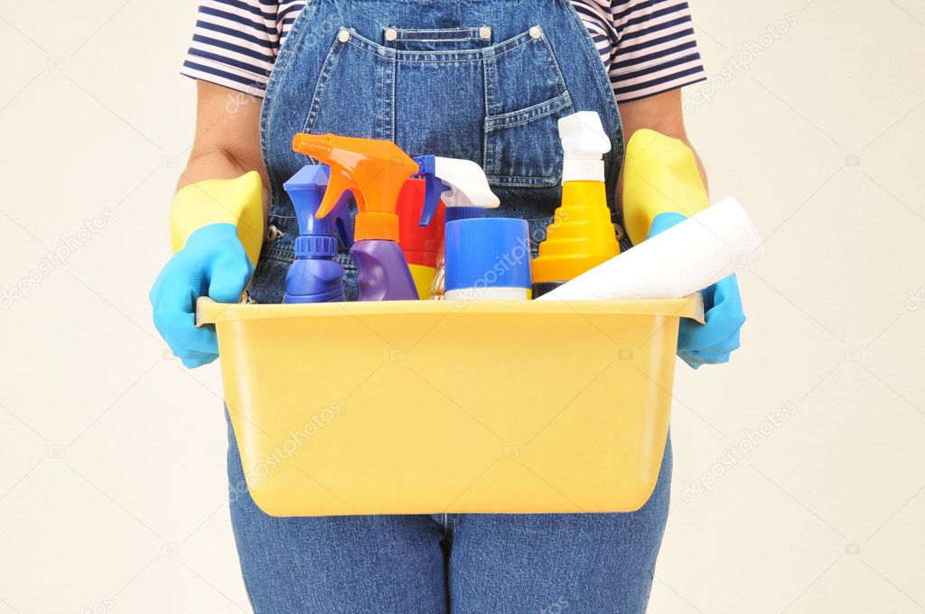 Woman in overalls holding a bucket full of cleaning supplies — Stock Photo #2079921