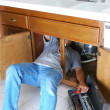 Man Under Sink with Toolbox — Foto de Stock
