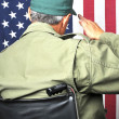 Stock Photo: Veteran in Wheelchair Saluting