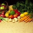 Stock Photo: Vegetables on Burlap
