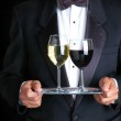 Man Two Glasses of Wine Tray — Stock Photo