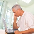 Man Looking Intently at Laptop — Stock Photo