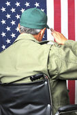 Veteran in Wheelchair Saluting — Stock Photo