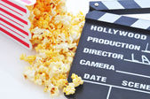 Popcorn and Clapboard — Stock Photo