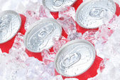 Close Up of Soda Cans in Ice — Photo