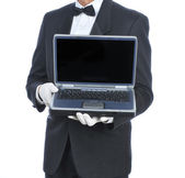 Butler with Laptop — Stock Photo