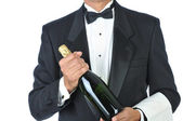 Sommelier Holding Bottle of Champagne — Stock Photo