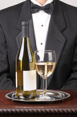 Waiter Wine Bottle and Glass — Stock Photo