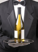 Waiter Wine Bottle — Stock Photo