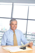 Smiling Businessman Seated at Desk — Stock Photo