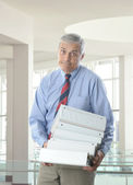 Overworked Middle Aged Businessman — Stock Photo