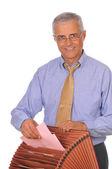 Uomo d'affari con casella file — Foto Stock