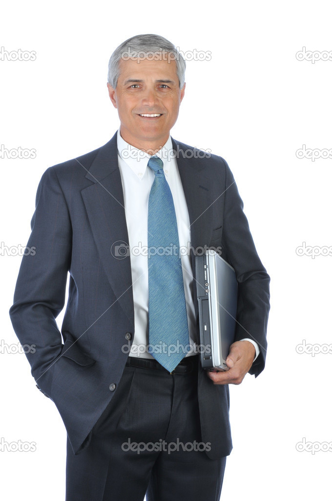Businessman carrying Laptop Under His arm with hand in pocket isolated on white — Stock Photo #2088730