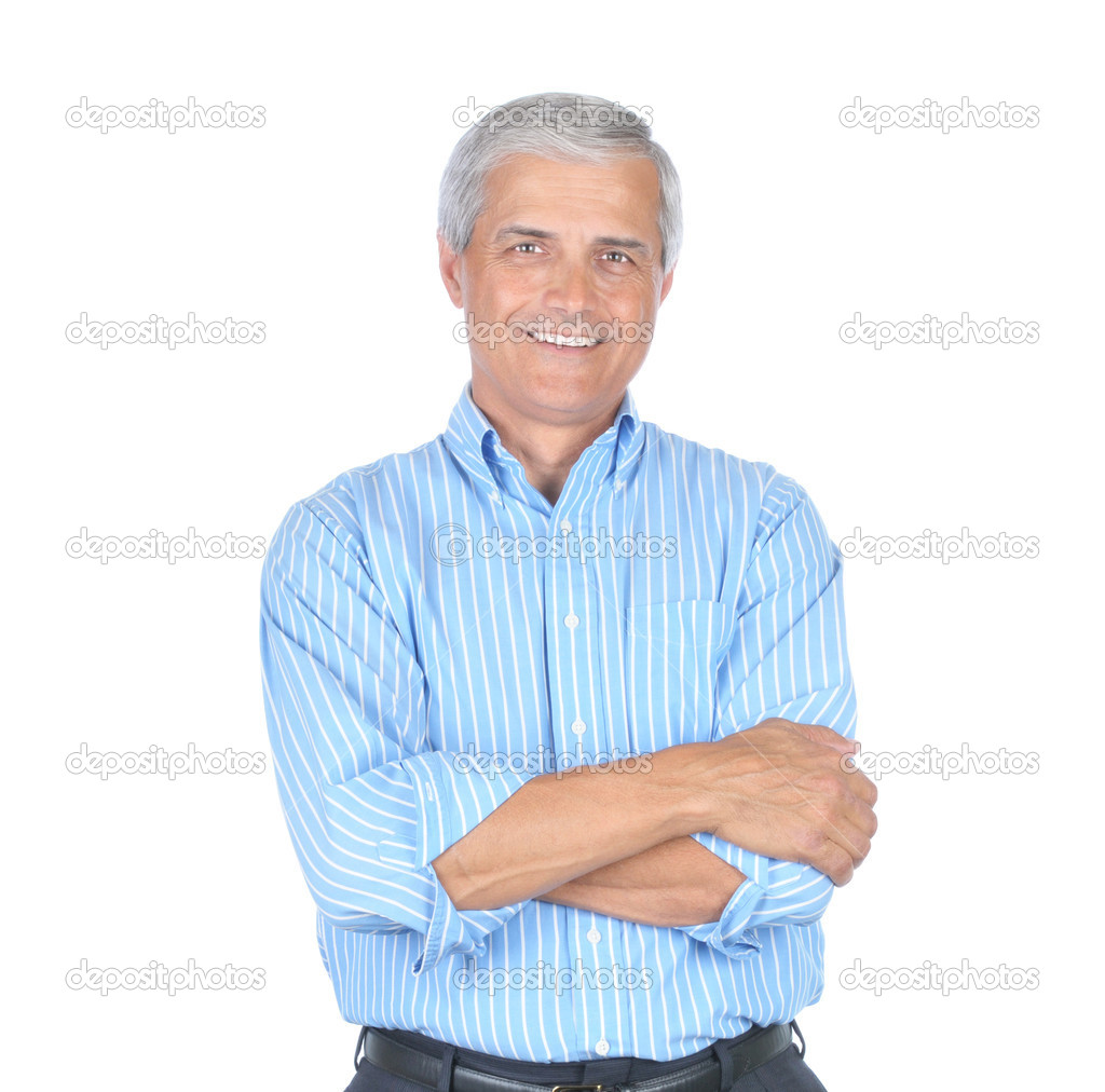 Mature Businessman Wearing Striped Blue Shirt With His Arms Folded isolated on white  Stock Photo #2089456