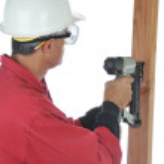 Woodworker Using Nail Gun — Stock Photo