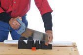 Woodworker with Saw and Miter Box — Stock Photo