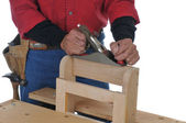 Woodworker with Block Plane — Stock Photo