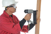 Woodworker Using Nail Gun — Stock Photo