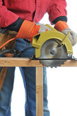 Construction Worker With Circular Saw — Stock Photo