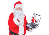 Santa Claus With Laptop Making Shh Sign — Stock Photo