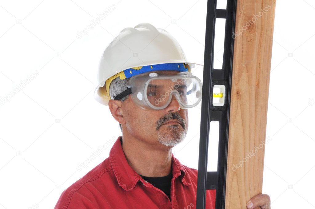 Construction Worker isolated over white with level and Board  Stock Photo #2093657